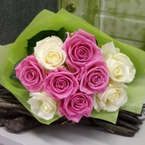 Букет цветов Розы микс 9 шт.