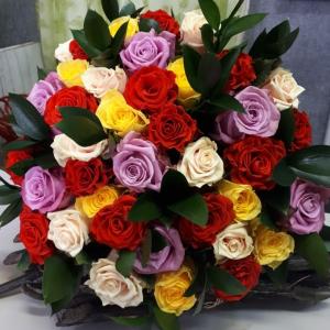 Букет цветов Розы микс 39 шт.