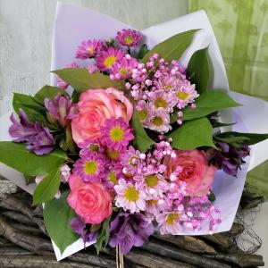 Букет цветов Роза, сантини, альстромерия